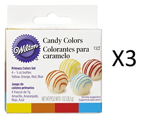 Bulk Buy: Wilton Candy Colors 1/4 Ounce 4/Pkg Yellow/Orange/Red/Blue W1913-1299 ()