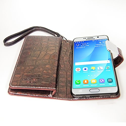 Galaxy Note 5 Case, Arium [Sapphire Blue] Crocodile PU Leather Diary Wallet Cover + Wrist Strap for Samsung Galaxy Note 5 - Wine