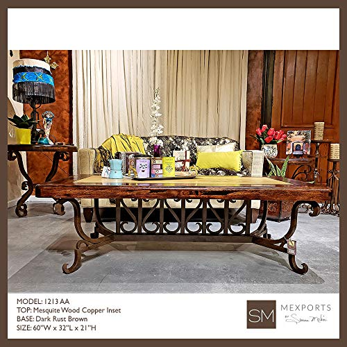 - Stylized Rectangular Coffee Table Made of Wrought Iron and Enhanced with an Upscale top: a Mesquite Frame with Cream Travertine Inset
