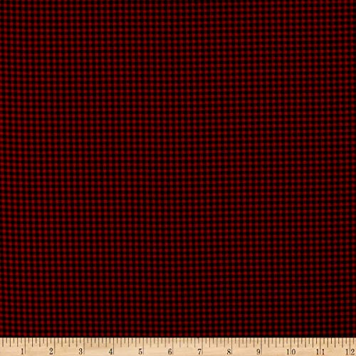 Timeless Treasures Flannel Holiday Check Red Fabric by the Yard