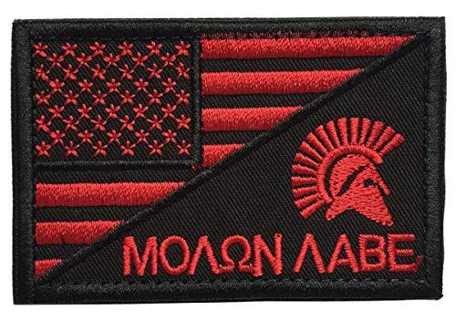 SpaceAuto USA American Flag w/ Molon Labe Spartan Helmet Military Tactical Morale Badge Decorative Emblem Combat Patch 3 x 1.97 - Red