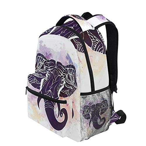 KVMV Watercolor Portrait of Elephant Head Featured Asian Tribal Myth Character Lightweight School Backpack Students College Bag Travel Hiking Camping Bags (Head Soccer Best Character)