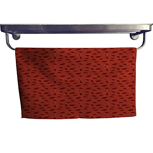 (Burnt Orange Popular Sports Towel Set Leafage Pattern with Victorian Lace Design Inspired Flower Petals Yoga Hand Towels Set W 10