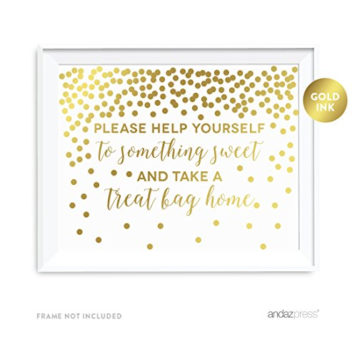Andaz Press Wedding Party Signs, Metallic Gold Confetti Polka Dots, 8.5x11-inch, Please Help Yourself to Something Sweet and Take a Treat Bag Home Dessert Table Sign, 1-Pack, -