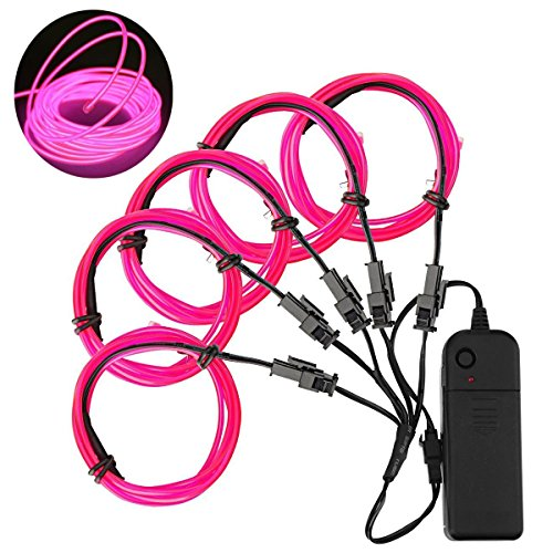 [Ourbest El Wire 51m(3ft) Pink Neon Glowing Strobing with Battery for Jacket, Cars, parties, camping and Bar] (Costumes Jewelry Supplies)