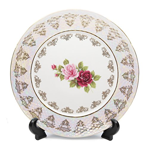Vintage Floral Porcelain - Royalty Porcelain Set of 6 Dinner Plates, Vintage Floral Pattern, 24K Gold Bone China Tableware (10.5, Vintage Floral Rose)