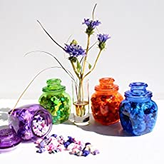 Origami Paper Lucky Stars In Colored Glass Jar With Lid And Gasket