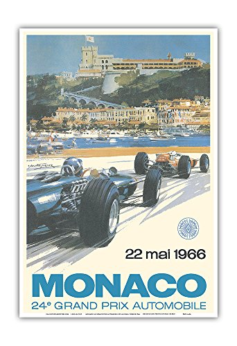 1 Art Print - 24th Monaco Car Racing GP) - 22. Mai 1966 (May 22nd 1966) - Circuit de Monaco, Monte Carlo - Formula One - Vintage Advertising Poster by Michael Turner 1966 - Master Art Print - 13in x 19in