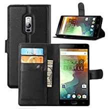 Fettion OnePlus Two Case, Premium Leather Wallet Case Cover with Stand Card Holder for OnePlus Two / OnePlus 2 Smartphone (Wallet - Black)