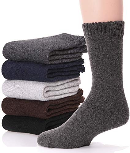 Mens Wool Socks Thermal Warm Heavy Thick Boot Winter Fuzzy Long Socks For Cold Weather 5 Pack (solid color) (Mens Thermal Dress Socks)