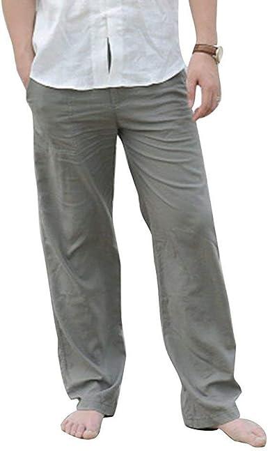 Pantalones Elasticos Lisos Con Cordon Para Hombre Pantalones Elasticos Ligeros Ropa Con Bolsillos Pantalones Anchos De Color Solido Pantalones Anchos Amazon Es Ropa Y Accesorios