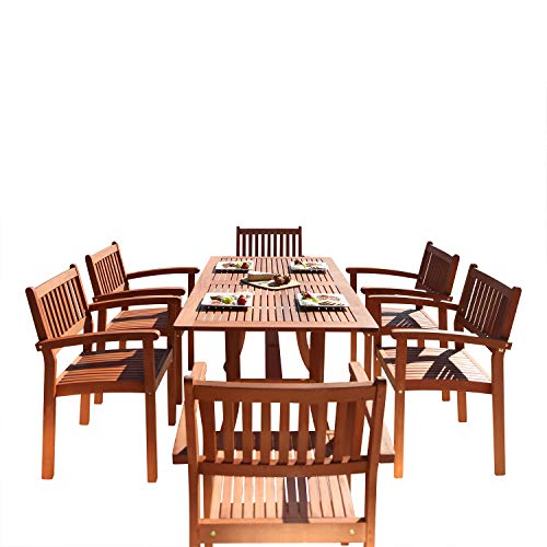 Vifah V187SET4 Bayeux Outdoor 7-Piece Wood Patio Dining Set with Stacking Chairs, Natural