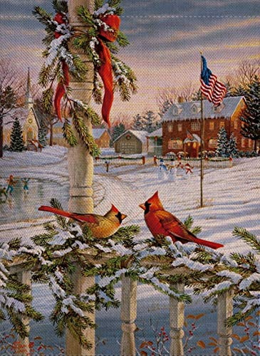 Selmad Home Decorative Christmas Cardinal Garden Flag Winter Double Sided, USA Patriotic House Yard Flag for Xmas, Rustic Outside Animals Garden Yard Decorations, Vintage Seasonal Outdoor Flag 12 x 18