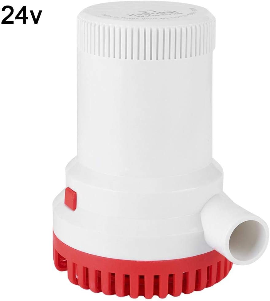 Qiilu Bomba de sumidero de sentina marina, 1500GPH Bomba de sumidero de sentina marina de alto flujo mini Bombas eléctricas sumergibles para yate(24V)
