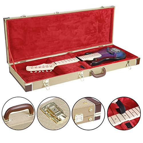 Smartxchoices 41.3 inch Electric Guitar Hard Shell Case Rectangle Classic Wood Multi-fit Tweed Guitar Case Luxury