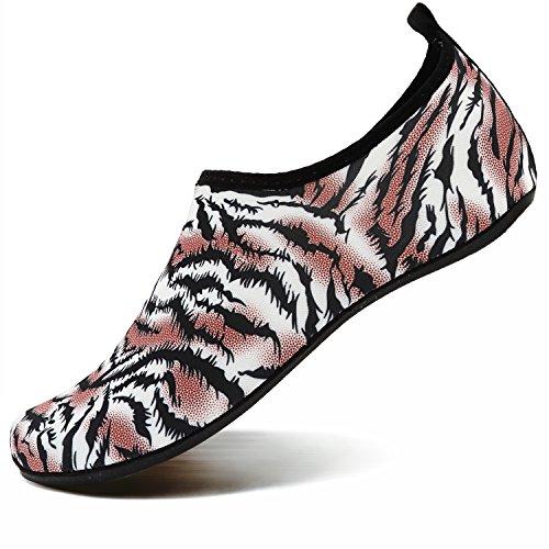 Orange Volleyball Shoes - VIFUUR Water Sports Shoes Barefoot Quick-Dry Aqua Yoga Socks Slip-On for Men Women Kids Tiger Orange-40/41