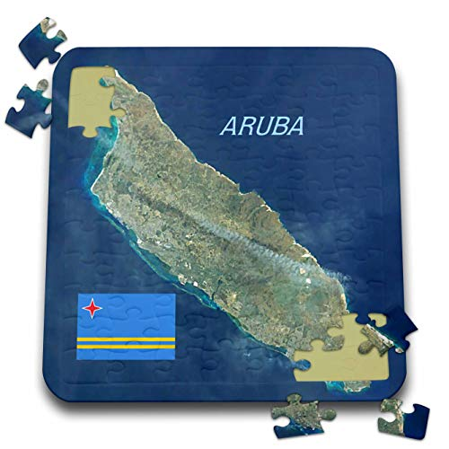 3dRose Lens Art by Florene - Topo Maps and Flags - Image of Aerial Topo View with Flag of Aruba - 10x10 Inch Puzzle (pzl_306862_2)