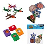 William & Douglas Sports Party Bundle | Party Favors include Maze Puzzles, Wristbands, Sports Fighter Plane Gliders