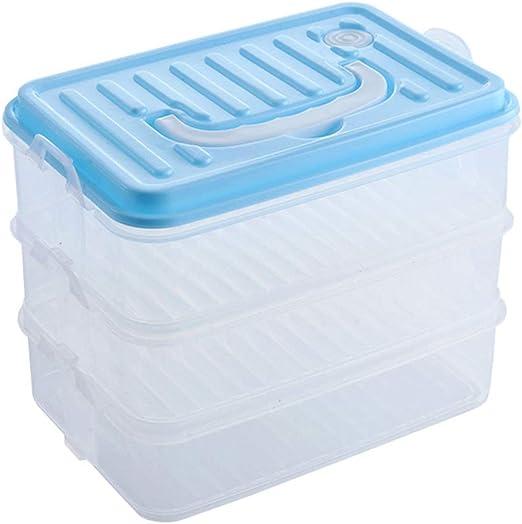 GWJS Plástico De Grado Alimenticio Caja De Almacenaje De La Cocina, Recipientes De Almacenamiento Los Mejores Contenedores De Cocina Y Despensa-Azul 19cm(7inch): Amazon.es: Hogar