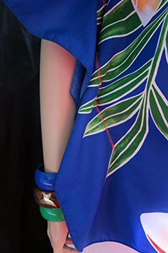 Hawaiian Plumeria Dream in Blue women's Polynesian Butterfly Blouse Shirt, Top, tunic, caftan - Fits 4XL 3XL 2 XL Plus - Made in Hawaii