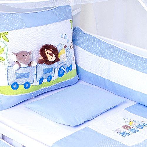 KIT DE BERÇO PAPI TOYS TAMANHO AMERICANO C/CORTINADO 08 PÇS, Papi Textil, Azul