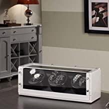 Nathan Direct Racing 6-Watch Automatic Watch Winder with Silent Motor and 4 Program Settings, Black/White