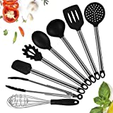 NANAN 8 Silicone Cooking Utensils, Kitchen Utensils, Nonstick Spatula & Utensils, Silicone & Stainless Steel Kit, Best Kitchen Tools for Gift
