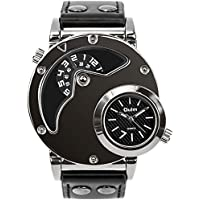 Men's Unique Analog Watch, Aposon Fashion Dress Quartz Wrist Watch with Dual Dial Cool Design Leather Band Dual Time Watches - Black