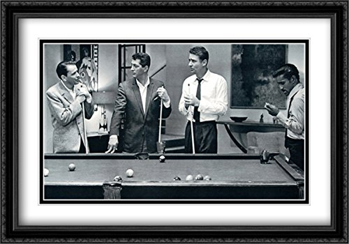 Rat Pack - Pool 40x28 Double Matted Large Black Ornate Framed Movie Star Poster Art (Rat Pack Framed)