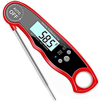 GDEALER Waterproof Digital Meat Thermometer Super Fast Instant Read Thermometer BBQ Thermometer with Calibration and Backlit Function Cooking Thermometer ...