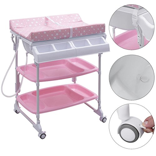 Baby Infant Bath Changing Table w/ Tube Pink by Apontus