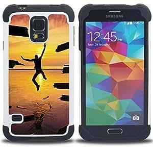 /Skull Market/ - Sunsine Fly Man sea For Samsung Galaxy S5 I9600 G9009 G9008V - 3in1 h????brido prueba de choques de impacto resistente goma Combo pesada cubierta de la caja protec -