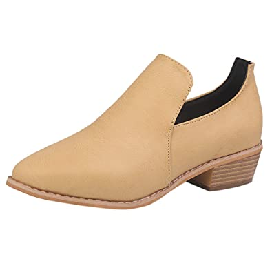 e7bf6b87bb9eaa Kaiki Hiver Boots,Bottines en Cuir pour Femmes Bottes Courtes Roman Martin  Roman,Taille