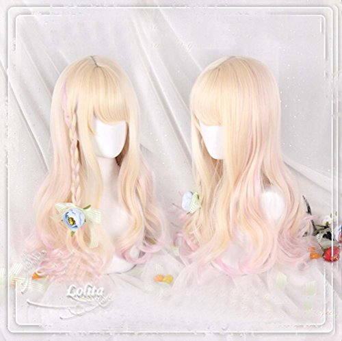 [Jooyi 65cm Japan Harajuku Anime Fashion Lolita Two Tone Pink Mixed Blonde Curly Wig Lace Front Korean Style Make The Face Look Smaller Hair] (Lavender Marie Antoinette Wig)