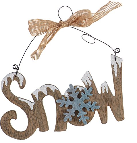 Wooden and Metal Cutout Snow-Covered Holiday Words Small Hanging Wall Signs - Words Christmas Sign