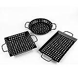 waykea Non-Stick Grill Basket Set, 3-Piece BBQ Accessory Set Wok Pan Grill Vegetable