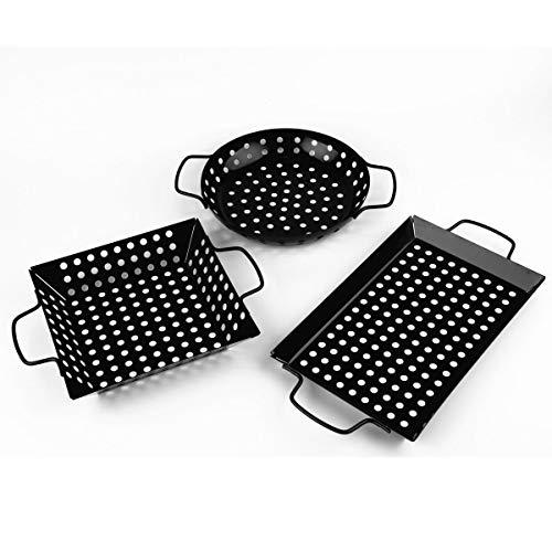 waykea Non-Stick Grill Basket Set, 3-Piece BBQ Accessory Set