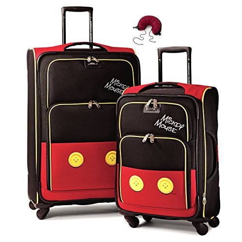 American Tourister Disney Softside Spinner 2 piece Luggage set 21 and 28 and Travel Pillow (One Size, Mickey Mouse Pants)