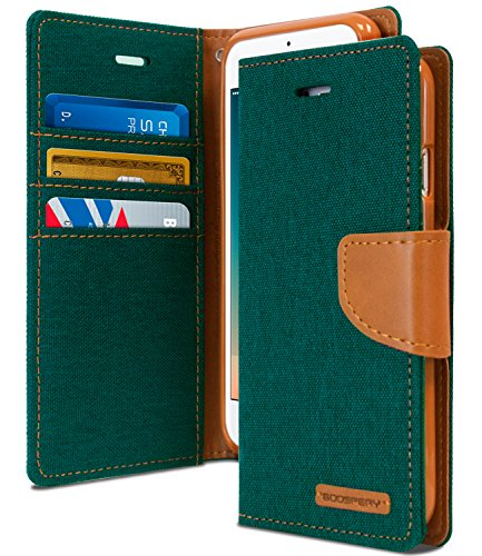 iPhone 8 PLUS Case & iPhone 7 PLUS Case [Drop Protection] GOOSPERY Canvas [Denim Material] Wallet Case [Card Slot] Stand Flip Cover TPU Casing for Apple iPhone 8 PLUS & 7 PLUS, Dark Green & Tan Brown
