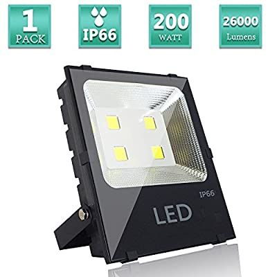 200W LED Flood Light LED Warm White 2700K Waterproof Floodlight Lamp 26000lm 1000W Halogen Bulb Equivalent IP66,120 Beam Angle, AC 85-265V Input Voltage