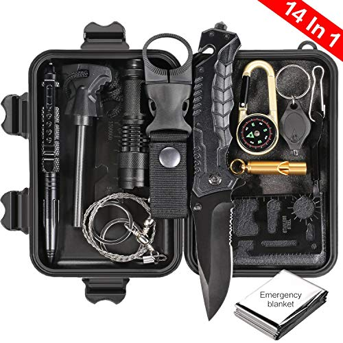 Puhibuox Survival Gear Kit, Gifts for Him Dad Husband Men Boyfirend Teen Boys 14-in-1, EDC Outdoor Emergency Tactical Survival Tool for Cars, Camping, Hiking, Hunting, Adventure Accessories - Knife Mens Survival