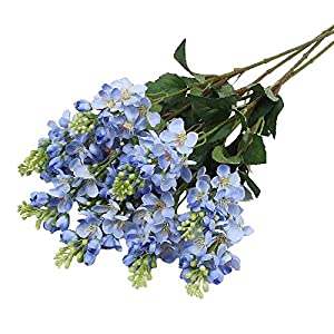 Jasming Set of 4 Artificial Hyacinth/Delphinium Silk flowers Lilac With Greenery Branches for Home Party Garden Decoration Crafting and Displaying 18