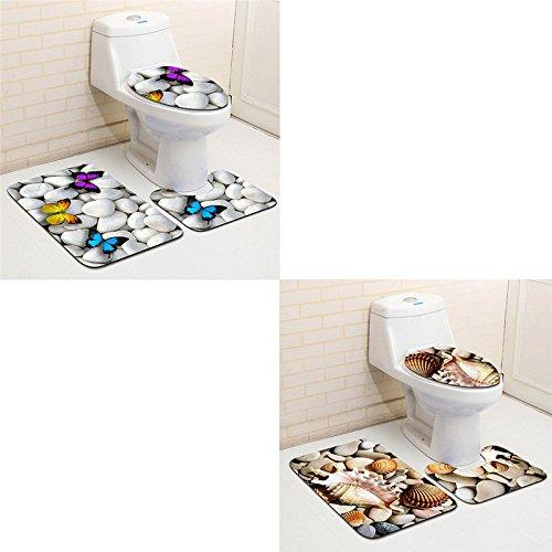 pinnacleT1 3PC Bath Mat Rug Set -Beach Starfish Sea Shell Sand Holidays Summer Bathroom Carpet Rug - Ocean Style Non-Slip Bathroom Floor Mat Set by pinnacleT1 (Image #1)