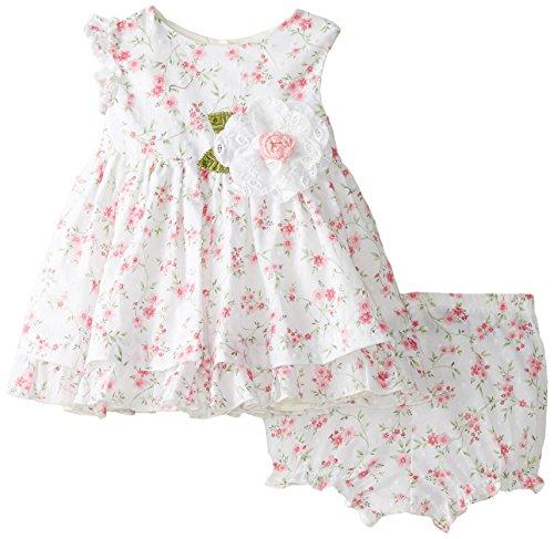 Laura Ashley London Baby-Girls Newborn White Floral Dress, Pink, 0-3 Months