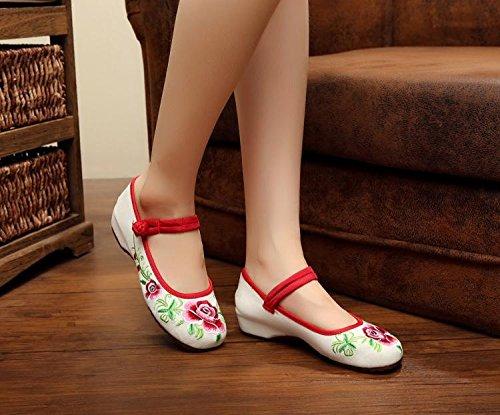 Aumento De Étnico Femenina Cómodo Tela Bordados Zapatos Tendón White Dentro Casual Moda Estilo Del Zll Lenguado 60nqwA