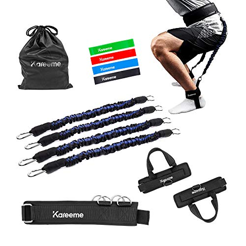 KAREEME Vertical Jump Trainer Leg Strength Resistance Bands Set for Speed and Agility Training Equipment Football Basketball Basketball Booty Resistance Bands with 4 Exercise Band for Workout Yoga