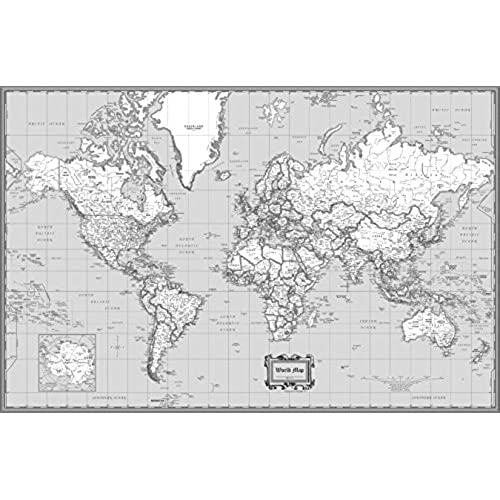 Current world maps amazon coolowlmaps world wall map classic black white design poster size 36x24 rolled laminated gumiabroncs Images