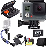 GoPro HERO+ LCD + Steadicam Curve for GoPro HERO Action Cameras (Blue) + 16GB microSD Memory Card + Case for GoPro HERO4 and GoPro Accessories + 6pc Starter Kit Bundle