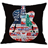 Pidada Throw Pillow Case Covers, Retro Guitar Pattern Cotton Blend Linen Square Decorative Cushion Pillowcase Cover with Words for Sofa Bedroom Home Decor 18x18 Black