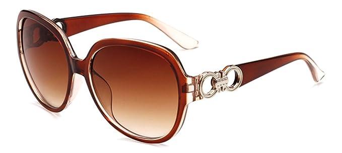 Lunettes de soleil CHTIT Miroir Homme Femme Ronde Style de yeux de chat Diamant # TSGL243 (marron) TqsWw